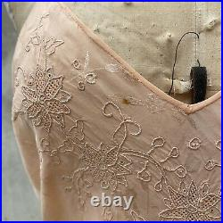 Vintage 1930s Pink Floral Brocade Dress Slip Embroidered Flowers Bias Cut Straps