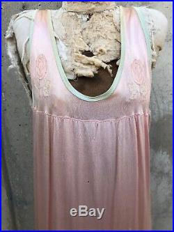 Vintage 1930s Pink & Green Silk &Rayon Maxi Dress Slip Embroidered Roses Antique