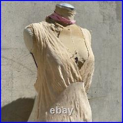 Vintage 1930s Pink Silk Dress Slip Racer Back Bias Cut Maxi Tulip Brocade Gown