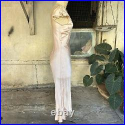Vintage 1930s Pink Silk Satin Maxi Dress Slip Floral Net Lace Appliques Bias Cut