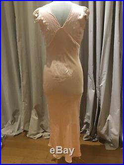Vintage 1930s Silk And Lace Bias Deco Dress Nightgown M