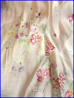 Vintage 1930s Silk Slip Dress Negligee Floral Pink Bias Cut Deco Night Gown 34