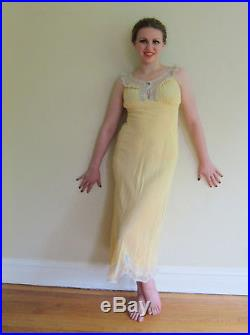 Vintage 1930s Slip Dress Yellow Bias Cut with Cream Lace Negligee Nightgwon Med