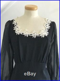 Vintage 1930s Tea Dress Black Silk Chantilly Georgette Sleeves 30s Deco Slip