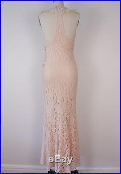 Vintage 1930s blush lace dress and jacket size S w slip NRA label Wedding