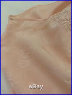 Vintage 1930s blush pink silk slip dress with mesh, floral applique, tie, pocket