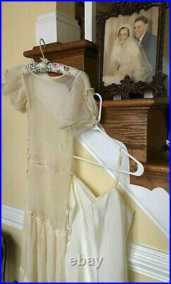 Vintage, 1936, Net Wedding Gown, Cape and Slip, Original Framed Wedding Portrait