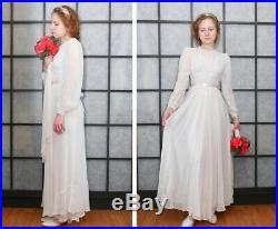Vintage 1940's Wedding Dress Ethereal Design Under Slip Long Sleeved