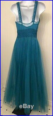 Vintage 1940's blue tulle party dress, 3 pc, rayon taffeta bias cut slip, bolero