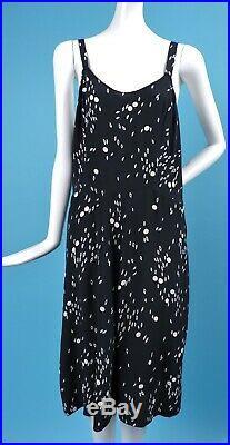Vintage 1940s Black & White Print Rayon Slip Dress W Geometric Pattern