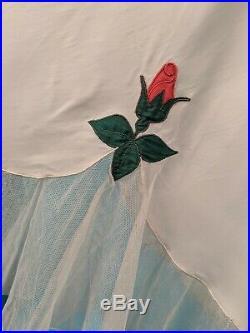 Vintage 1940s Hattie Carnegie Silk Slip W Rose Bud Detail For Dress