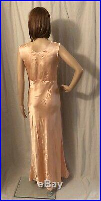 Vintage 1940s Lorraine Bias Cut Dress Slip NIght Gown Peach Rayon Satin 36 Bust
