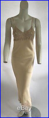 Vintage 1940s Marshall Fields Silk And Lace Bias Cut Slip Dress