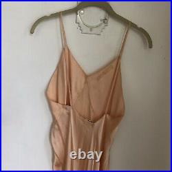 Vintage 1940s Peach Crepe Silk Maxi Slip Dress Bon Soir Tailored Barbizon