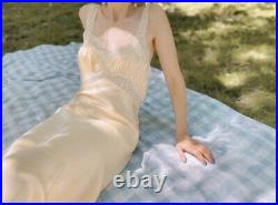 Vintage 1940s lemon chiffon silk slip dress