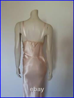Vintage 1940s or 1950s Long Pink Satin Slip Dress, Gown