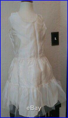 Vintage 1950's 2-piece Semi Sheer Pink Salmon Dress Ivory Slip 4 5 Circle