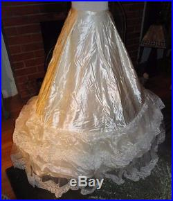 Vintage 1950's Bobbie Brooks High Neck Lace Satin Hoop Slip Wedding Dress Small
