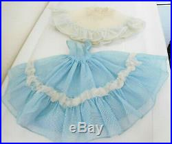 Vintage 1950's Mary Hoyer Tagged Clothes Blue & White Gown Dress with Tagged Slip