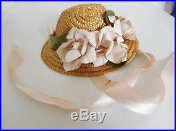 Vintage 1950's Nancy Ann Style Show Dress Gown, Hoop Slip & Straw Hat 18 Doll