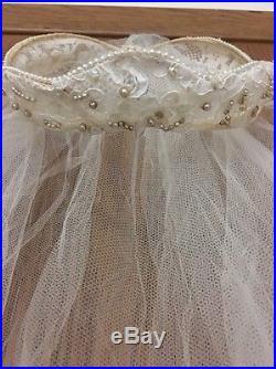 Vintage 1950's Wedding Dress, Veil, Hoop Petticoat/Slip Sz8