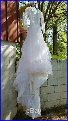 Vintage 1950s 50s White Sheer Dress with Strapless Satin Slip Dress, Wedding Gown
