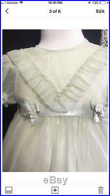 Vintage 1950s Baby/ Or Doll Nylon Green Sheer Party Dress WithSlip PattiPlaypal