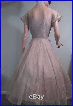 Vintage 1950s Dress Taupe Silk Organza with Slip Cocktail Evening Party Small