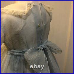 Vintage 1950s Toddler Girls Party Dress Ex Cond Blue Sheer Nylon Sz 2 Inc Slip