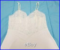 Vintage 1950s Vanity Fair White Tricot Nylon Lace Dress Full Slip Lingerie 36