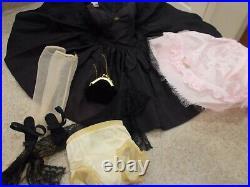 Vintage 1956 Madame Alexander CISSY Doll with Black Dress, Slip, Shawl, Hose, etc