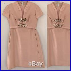 Vintage 1960s Malcolm Star Pink Silk Babydoll Dress With Rhinestone Flowers