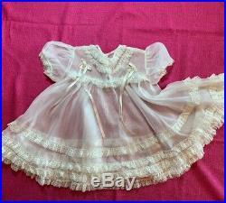 Vintage 1960s Prima Donna Girls Dress Sheer Nylon Lace Ruffle Slip Bloomer Set
