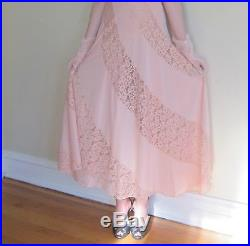 Vintage 1970s Does 30s Old Hollywood Olga Nightgown Slip Dress Peach Pink Lace