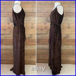 Vintage 1990s Gunne Sax Brown Textured Velvet Maxi Slip Dress
