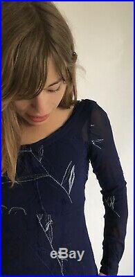 Vintage 1990s Voyage Hand Embroidered Bias Cut Grunge Slip Dress