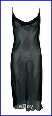 Vintage 1997 Gucci by Tom Ford Sheer Black Gauze Slip Dress