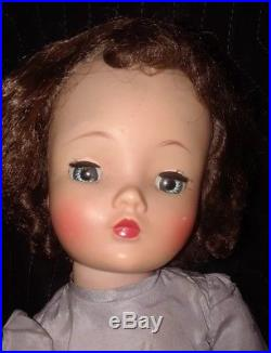Vintage 20 blue eyed 1950s Madame Alexander Cissy Doll in Tagged Dress + slip