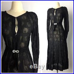 Vintage 20's 30's Sheer Black Gauzy Lace Slip Dress Gothic Art Nouveau Goth XS