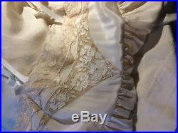 Vintage 20's slip Bridal dress Chemise pinup XXS Ivory 100% Silk flapper Shift