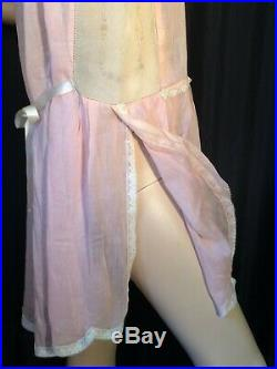 Vintage 20's slip dress Chemise pinup Pink sissy L nightgown Lace flapper Sheer