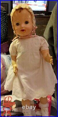 Vintage 24-Inch Effanbee Cuddles In Antique Embriodered Dress, Slip & Bonnet 9