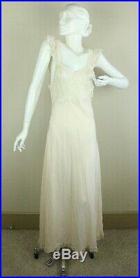 Vintage 30s 40 Rayon Bias Cut Slip Dress Gown Peach Lace 36 Lady Leonora Full