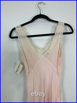 Vintage 30s 40s Peach Pink Lace Maxi Slip Dress Nightgown Trousseaux Terris XS/S