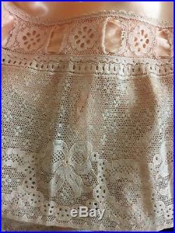 Vintage 30s 40s Peach Silk Slip L Maxi Dress Nightgown Lace Lady Love Bias Cut