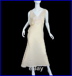 Vintage 30s Beige silk gown MAXI Empire Lace Slip dress Full Length