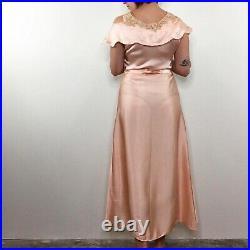 Vintage 30s French Couture Peach Silk Slip Dress Lace Off Shoulder Cutouts S/M
