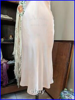 Vintage 30s Glamour Pink Satin & Lace Maxi Dress Night Gown Bias Cut Slip M 1930