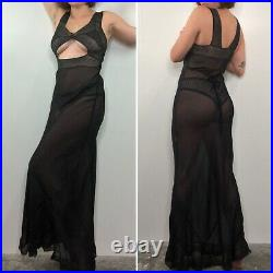 Vintage 30s Sheer Black Open Front Lace Slip Dress Nightgown Bias Cut XS/S