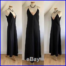 Vintage 30s Slip Sheath Dress Negligée Deco Black Silk Lace Lingerie 1930s